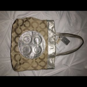 Vintage Gold and tan coach bag